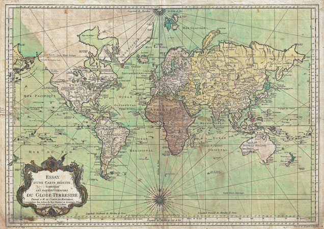 MP Vintage Historical Nautical Chart World Map Poster Re - A3 printable world map