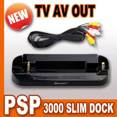charger charging dock with tv av video out output for sony psp 3000 slim lite ebay. Black Bedroom Furniture Sets. Home Design Ideas