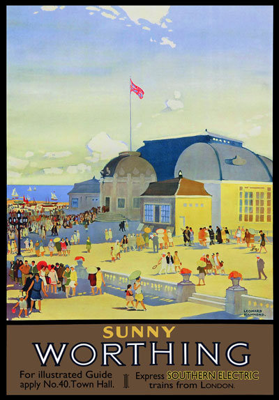 TU50 Vintage Sunny Worthing Railway Travel Poster Print A2 ...